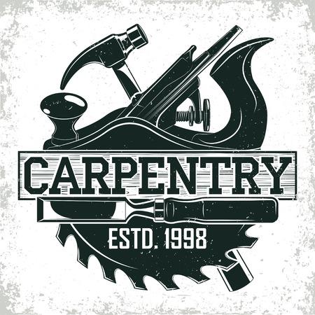 Ilustración de Vintage woodworking logo design,  grange print stamp, creative carpentry typography emblem, Vector - Imagen libre de derechos
