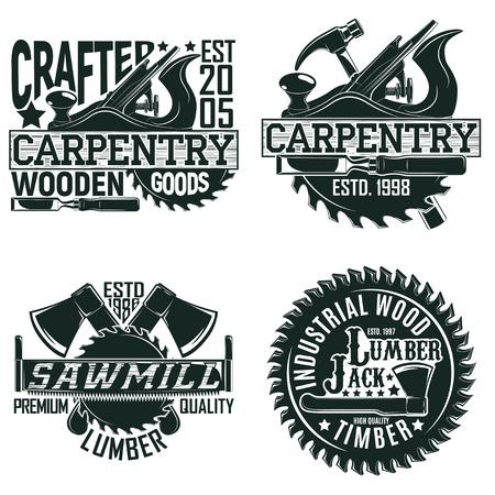 Ilustración de Set of Vintage woodworking logo designs,  grange print stamps, creative carpentry typography emblems, Vector - Imagen libre de derechos