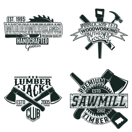 Illustration pour Set of Vintage woodworking logo designs,  grunge print stamps, creative carpentry, and typography emblems - image libre de droit