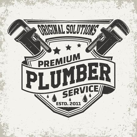 Illustration pour Vintage creative  plumber logo concept graphic design. - image libre de droit