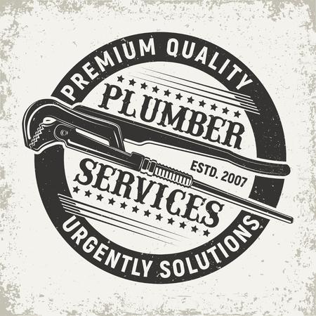 Ilustración de Vintage creative  plumber logo, emblem concept graphic design. - Imagen libre de derechos