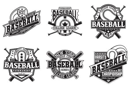Illustration for Set of vintage t-shirt graphic designs,  print stamps, baseball typography emblems, sports logos, Creative design, Vector - Royalty Free Image