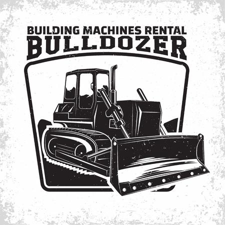 Illustration pour Excavation work logo design, emblem of bulldozer or building machine rental organisation print stamps, constructing equipment, Heavy bulldozer machine typographyv emblem, Vector - image libre de droit