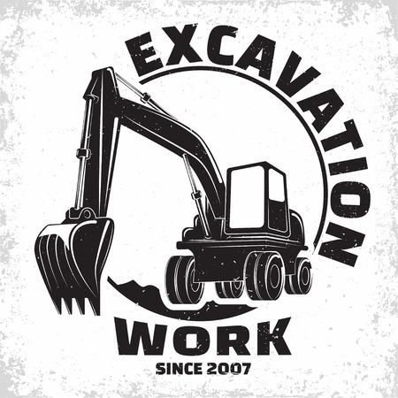 Illustration pour Excavation work logo design, emblem of excavator or building machine rental organisation print stamps, constructing equipment, Heavy excavator machine with shovel typographyv emblem, Vector - image libre de droit