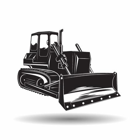 Photo for Heavy bulldozer machine monochrome icon, on white background, vector - Royalty Free Image