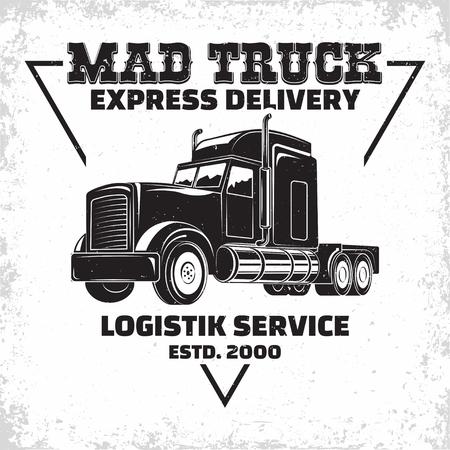 Illustration pour Trucking company logo design, emblem of truck rental organisation, delivery firm print stamps, Heavy truck typographyv emblem, Vector - image libre de droit