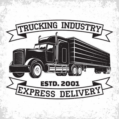 Illustrazione per Trucking company logo design, emblem of truck rental organisation, delivery firm print stamps, Heavy truck typographyv emblem, Vector - Immagini Royalty Free