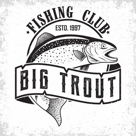 Ilustración de Fishing club vintage logo design, emblem of the trout fishermen, grange print stamps, fisher typography emblem, Vector - Imagen libre de derechos