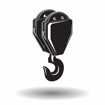 Ilustración de Monochrome crane hook  icon isolated on white background with shadow, lifting equipment, vector illustration - Imagen libre de derechos
