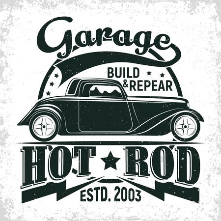 Illustration pour Hot Rod garage logo design, emblem of muscle car repair and service organisation, retro car garage print stamps, hot rod typography emblem, Vector - image libre de droit