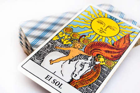 Photo for the deck of Tarot cards on white background, top down card sun - Royalty Free Image