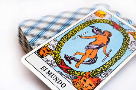 Photo pour the deck of Tarot cards on white background, top down card the world - image libre de droit