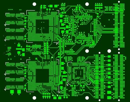 Ilustración de The printed circuit board. Without electronic components - Imagen libre de derechos
