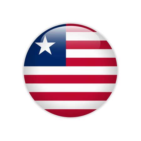 Illustration pour Liberia flag on button - image libre de droit