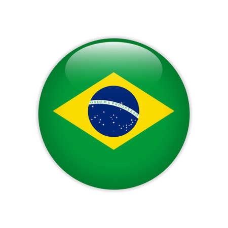 Ilustración de Brazil flag on button - Imagen libre de derechos