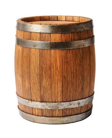 Foto de Wooden oak barrel isolated on white background - Imagen libre de derechos