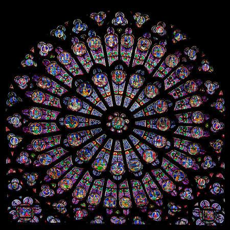 Foto de Rose window of Notre Dame Cathedral in Paris  - Imagen libre de derechos