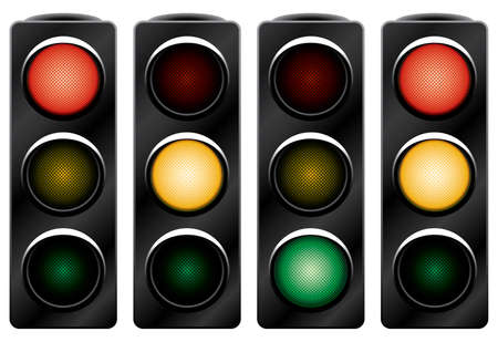 Traffic light. Variants. Vector illustration. Isolated on white background.