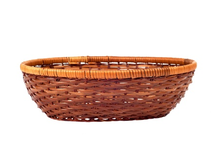 Empty wooden  fruit or bread basket  isolated on white background