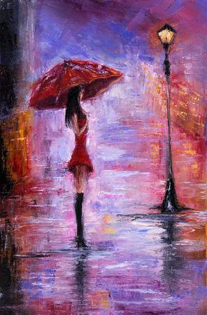 Foto de Original oil painting showing beautiful young woman in red,holding red umbrella near a street lamp on canvas. Modern Impressionism, modernism,marinism - Imagen libre de derechos