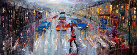 Photo pour Original oil painting showing beautiful young woman in red,holding red umbrella crossing the city street on canvas. Modern Impressionism, modernism,marinism - image libre de droit