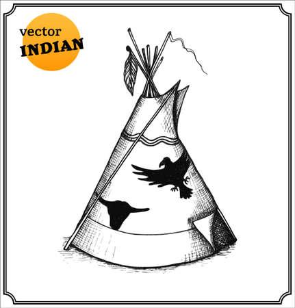 Ilustración de Indians tipi. Isolated on white background.  - Imagen libre de derechos