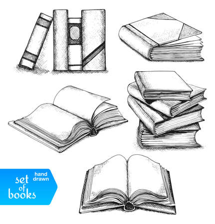 Ilustración de Books set. Opened and closed books, books on the shelf, stacked books and single book isolated on white background. - Imagen libre de derechos