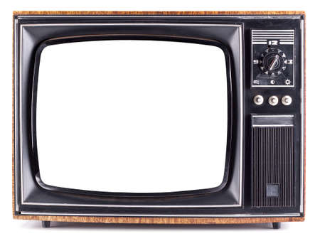 Photo for The old TV on the isolated white background - Royalty Free Image