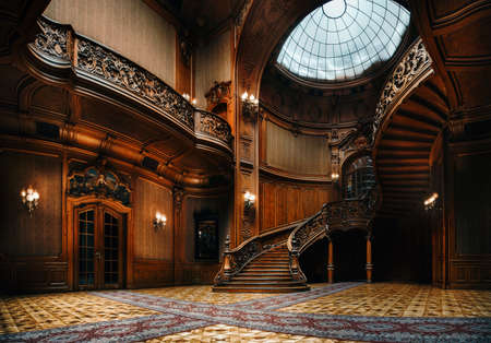 Photo pour Lviv, Ukraine - 23 September, 2016: House of Scientists. Interior of the magnificent mansion with ornate grand wooden staircase in the great hall. A former national casino. - image libre de droit