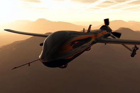 Photo pour MQ1 Predator Type Drone 3D artwork - image libre de droit