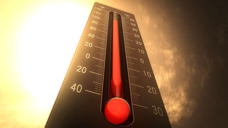 Foto de Thermometer Fahrenheit Celsius Heat Illustration Concept of climate change, global warming, summer heat. - Imagen libre de derechos