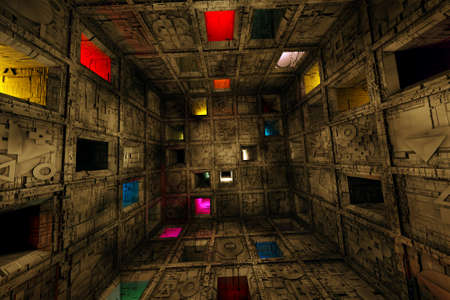 Foto de Sci Fi Grungy Escape Room Riddle Labyrinth Cube Interior 3D Illustration - Imagen libre de derechos