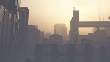 Photo pour Post Apocalyptic Heavily Air Polluted Smoggy Metropolis 3D Illustration - image libre de droit