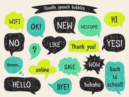 Illustration pour Set of hand drawn speech and thought bubbles. Doodle design with short messages. - image libre de droit