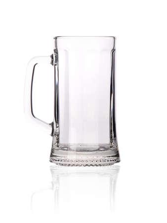 Empty beer mug isolated on white background