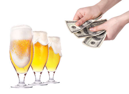 purchase and sale of beer isolated on a white background