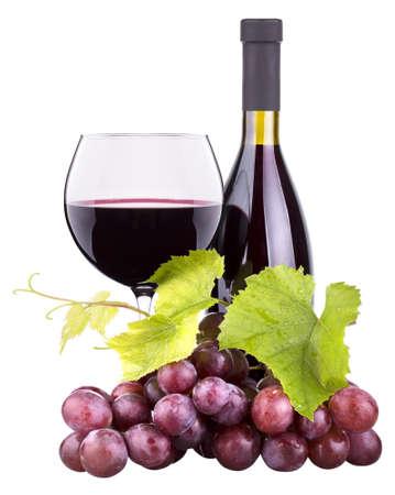Foto de Ripe grapes, wine glass and bottle of wine isolated on white - Imagen libre de derechos