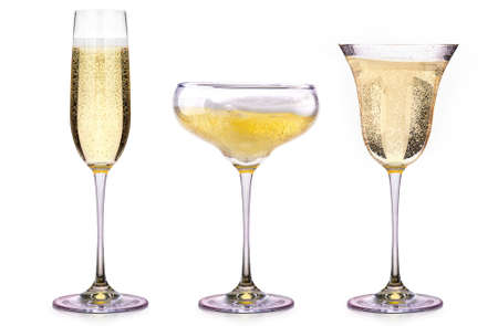 Photo pour Glasses of champagne isolated on a white background - image libre de droit
