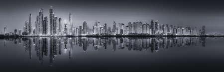 Foto de The beauty panorama of skyscrapers in Dubai Marina. black and white, UAE - Imagen libre de derechos