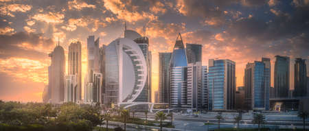 Photo for Skyline of West Bay and Doha City Center, Qatar - Royalty Free Image