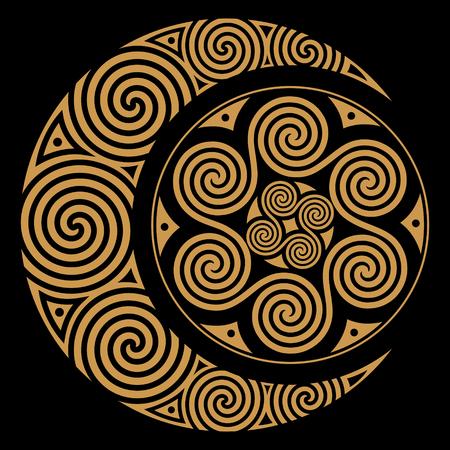 Ilustración de Spiral Celtic Moon and Celtic Sun, isolated on black, vector illustration - Imagen libre de derechos