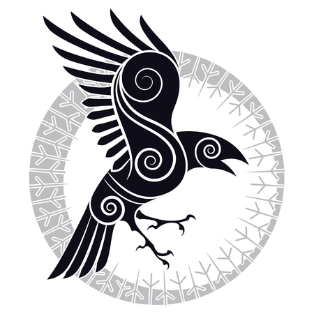 Illustration for The Raven of Odin in a Celtic style and design runic circle - Royalty Free Image