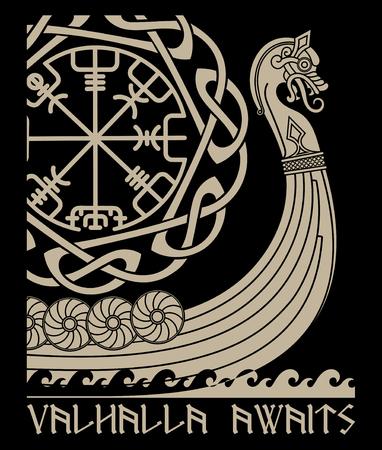 Illustration pour Warship of the Vikings. Drakkar, ancient scandinavian pattern and norse runes - image libre de droit