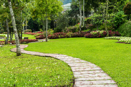 Foto de Landscaping in the garden. The path in the garden. - Imagen libre de derechos
