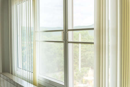 Photo pour Mosqito window screen with white curtains texture - image libre de droit