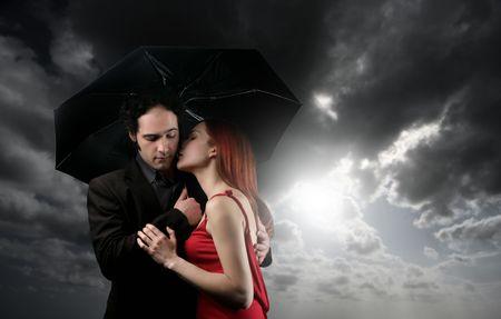 a couple with umbrella