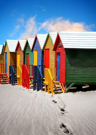 Foto de Colored Beach Huts near Cape Town  - Imagen libre de derechos
