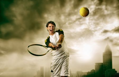 man playing tennis with modern city on the background