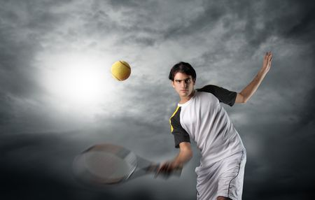 tennis player in a cloudy sky