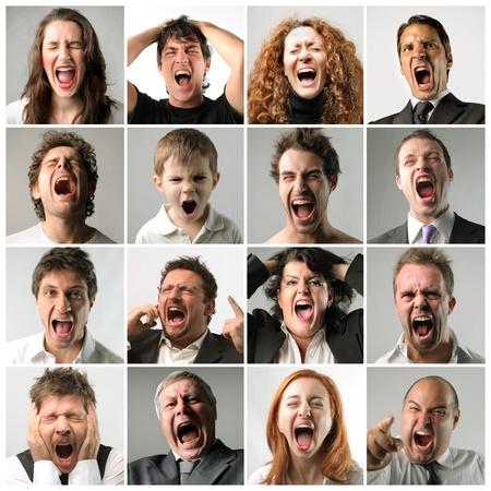 Foto de Collage of screaming people - Imagen libre de derechos